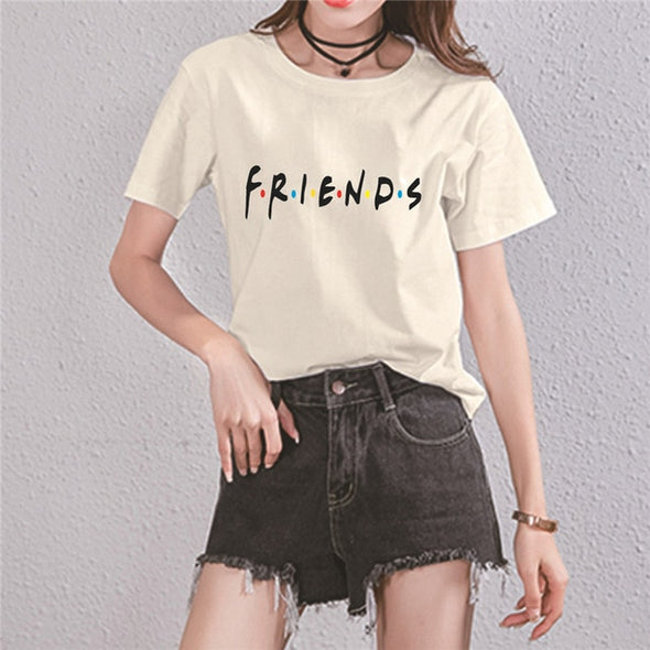 "Women's Friends TV Show T-Shirt with ""HOW YOU DO'IN"" Letter Print Color Dot Women Summer Short Sleeved T-shirt - ibspot"
