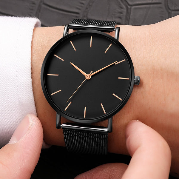 Men Modern Fashion Black Quartz Watch with Mesh Stainless Steel Bracelet