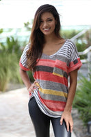 Women Tunic Big Plus Size Color Block T-Shirt with Red Green Rainbow