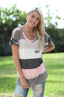Women Tunic Big Plus Size Color Block T-Shirt with Red Green Rainbow - ibspot