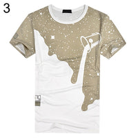 Men Summer Milk Poured Pattern Inverted Milk 3D T shirt Printed Short Sleeve Round Neck Slim - ibspot