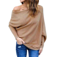 Women Casual Off Shoulder Batwing Sleeve Casual, Street, Outdoor, etc Solid Pleated Pullover Sweater Tops - ibspot