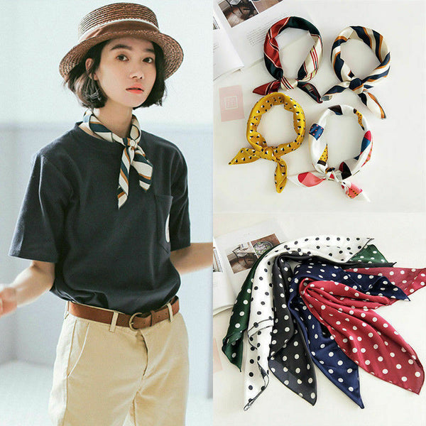 Small Scarf Soft Hair Tie Band Decorative Multifunctional Head Scarf Multicolor Stripe Print Kerchief Neck - ibspot
