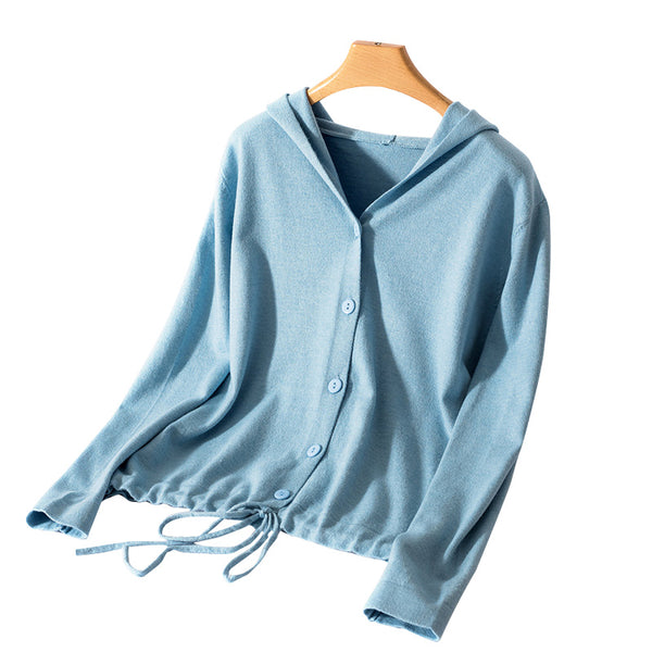 Hooded Cardigan Women 2019 Spring and Autumn New Solid Color Cashmere Casual Jacket Single Breasted Ladies Tops Thin V-neck Knit - ibspot