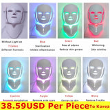 NEWEST 3/7 Colors Photon Electric LED Facial Mask with Neck Skin Rejuvenation Anti Acne Wrinkle Beauty Treatment Salon Home Use - ibspot
