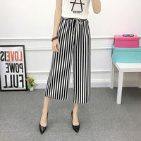 Summer Pants Drawstring Wide Leg Pants Women Casual High Waist Trousers Striped Pants Suit Loose Simple Patterned Print Lacing - ibspot