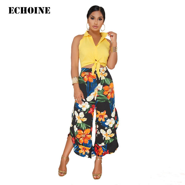 Floral Print 2 Piece Set Sleeveless Crop Shirt Top and Flower Pants Slim Elegant Pants Set Wide Leg Ruffle Trousers Office Set