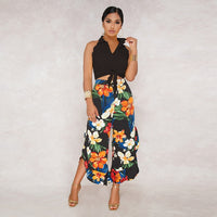 Floral Print 2 Piece Set Sleeveless Crop Shirt Top and Flower Pants Slim Elegant Pants Set Wide Leg Ruffle Trousers Office Set - ibspot