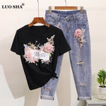LUOSHA Women 2019 2Pcs Summer Stylish Embroidery 3D Flower Short Sleeved Tshirt+Heavy Work Jean Rippered Hole Denim Pants Suit - ibspot