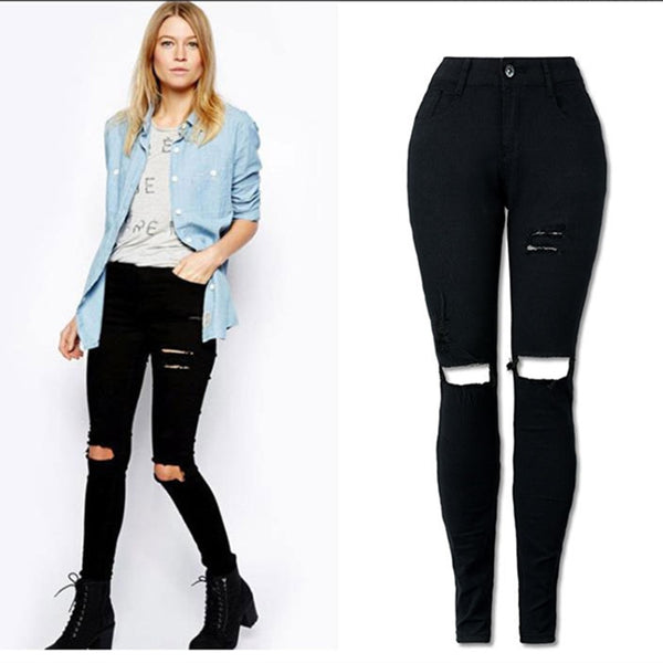 New Black Sexy Jeans Pancil Pants Women High Waist Slim Hole Ripped Denim Jeans Casual Stretch Skinny Trousers Jeans - ibspot