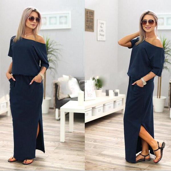 Women Dress Summer Long Maxi BOHO Elegant Evening Party Solid Dress with Pocket