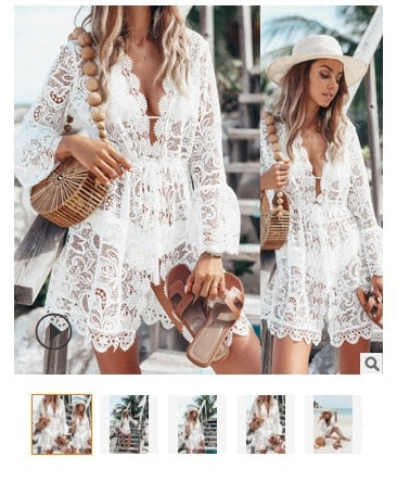 Women Ladies Casual Fashion Spring Summer Solid V Neck Sexy Lace Bell Sleeve Beach Short Mini Dress