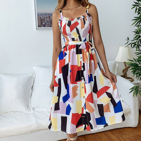 Women's Spring And Summer Fashion Casual Printed Zipper Round Neck Female Dress 2019 Sleeveless Short Dress feb26