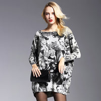 Plus Size Women Knit Sweater One Size Pullovers Streetwear Black White Patchwork Long Loose Design Slash Neck  Sweaters - ibspot