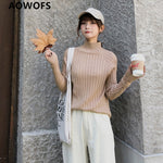 Women Sweater  Turtleneck One Size Streachy Style Pullovers Streetwear Knit Sweaters Autumn Winter Solid Colored Drop ship - ibspot