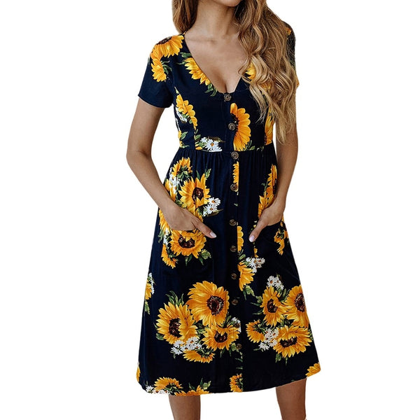 Women's Spring And Summer Fashion Casual Printed Zipper Round Neck Female Dress 2019 Sleeveless Short Dress feb26 - ibspot