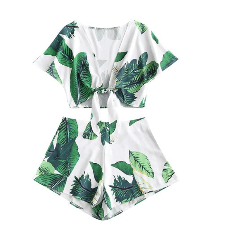 6732ae2921 Summer Women 2 Pcs Set Bohemian Green Leave Printed Lace Up Crop Tops –  IBSpot Global