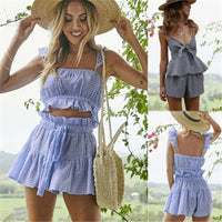 Womens Ladies Summer Casual Plaid 2 Piece Outfit Set Rompers Jumpsuit  Set Sleeveless Crop Tops + Shorts