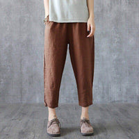 Womens Elastic High Waist Harem Pants Summer Solid Color Casual Baggy Trousers - ibspot