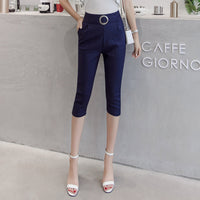 Pants Women 2019 Summer Elastic High Waist Pantalon Femme Slim Office Lady Trousers Knee-length Solid Belted Woman Pencil Pants
