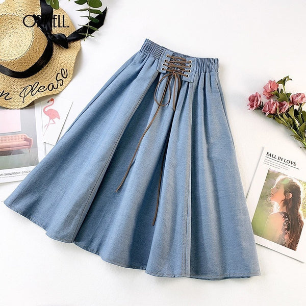 ORMELL Denim Pleated Midi Skirt Women 2019 Summer High Waist Vintage Party Skirts Casual Cotton Ladies A-line Lace Up Skirt