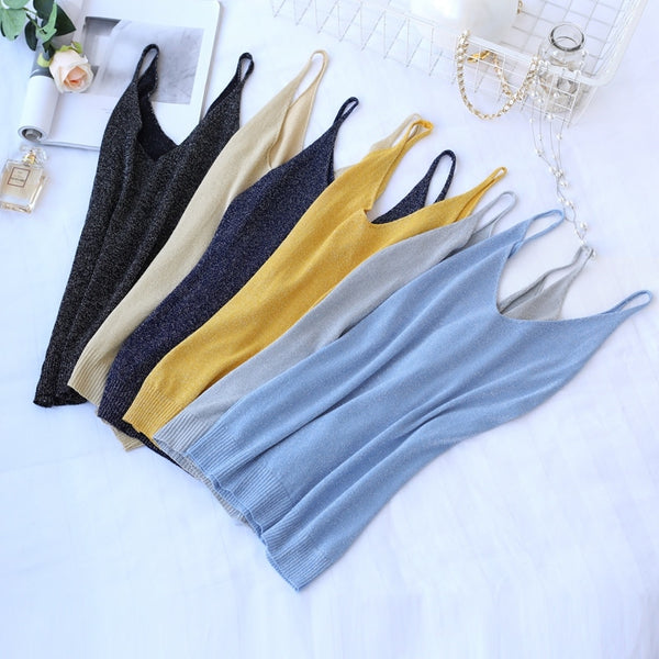 Knitted V-neck Tank Tops Women Sexy Lurex Vest Female Casual Sleeveless Camisole Fashion Camis Ladies Sling Slim New Summer New - ibspot