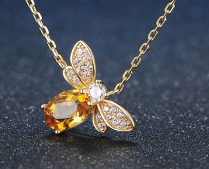 14k Gold Over 925 Sterling Silver, Natural Citrine & CZ Bracelet, Earrings, Necklace & Ring Set
