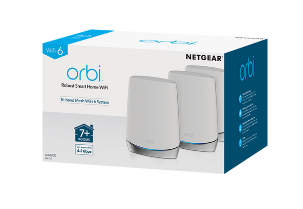 NETGEAR Orbi RBR750 (AX4200) High-Performance Tri-Band and WIFI 6 System Covers 7500 SQFT/Up to 40 Devices (RBR750 – NAS) 3-Pack Includes 1 Router & 2 Satellites