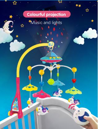Music and Lights Space Ship Projection Baby Crib Mobile