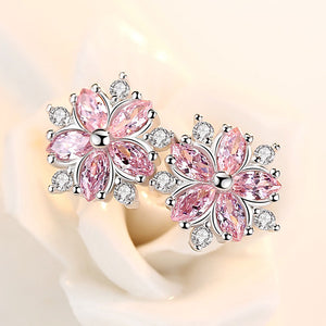925 Sterling Silver Cherry Flower Shine Pink Cubic Zirconia Stud Earrings