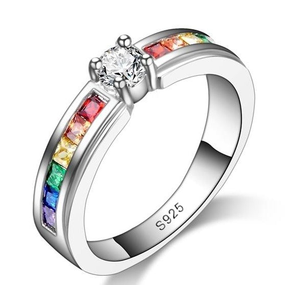 Rainbow Promise Beautiful Engagement Rings For Lover 925 Sterling Silver Elegant Jewelry High Quality Austrain Rhinestone
