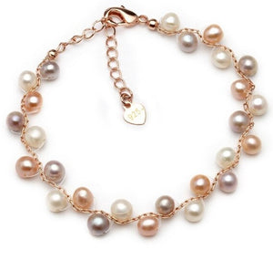 Real Natural Freshwater Pearl Bracelet For Women,Fashion Colorful Multi Layer Charm Bracelet Femme Birthday Gift