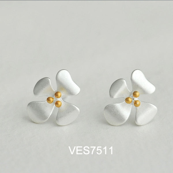XIYANIKE 925 Sterling Silver Prevent Allergy Stud Earrings for Women Simple Handmade Flower Geometric Fashion Paerty Jewelry