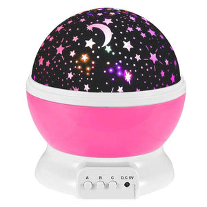 Novelty LED Rotating Star Projector Lighting Moon Starry Sky Children Baby Night Sleep Light Battery Emergency Projection Lamp