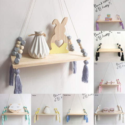 Nordic Style Colorful Beads & Tassel Wooden Wall Shelf