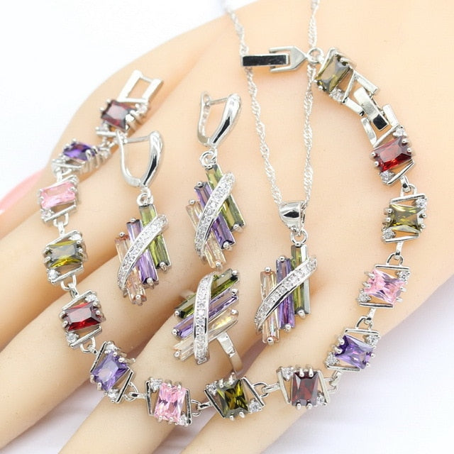 925 Sterling Silver & Multi Colored CZ Jewelry Sets For Women