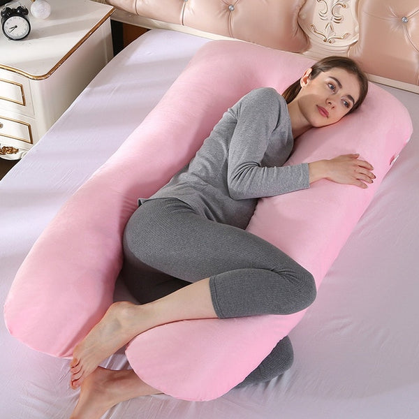 Upgraded Pregnancy Pillow Full Filling Cotton Pregnant Pillow Cushion Long U Shape Maternity Plillow For Pregnant Women Sleeping