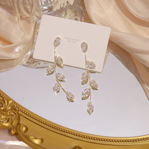 14K Gold Plated CZ Leaves Beautiful Earrings