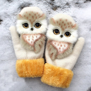 Women Winter Gloves Ladies Girls Outdoor Thick 3D Cartoon Cat Warm Mittens Thicken Men And Women Gloves Christmas Gifts