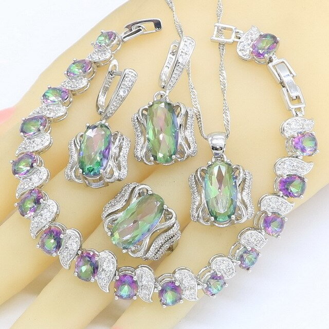 925 Sterling Silver & Purple Green CZ Jewelry Sets For Women