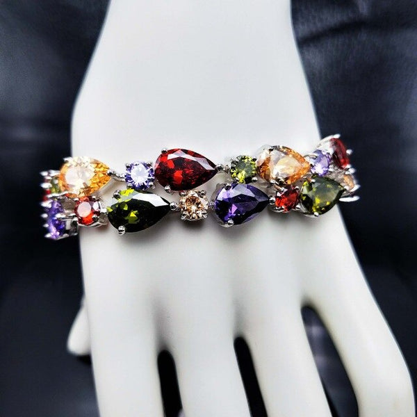 925 Sterling Silver Multi-Gemstone Bracelets For Women