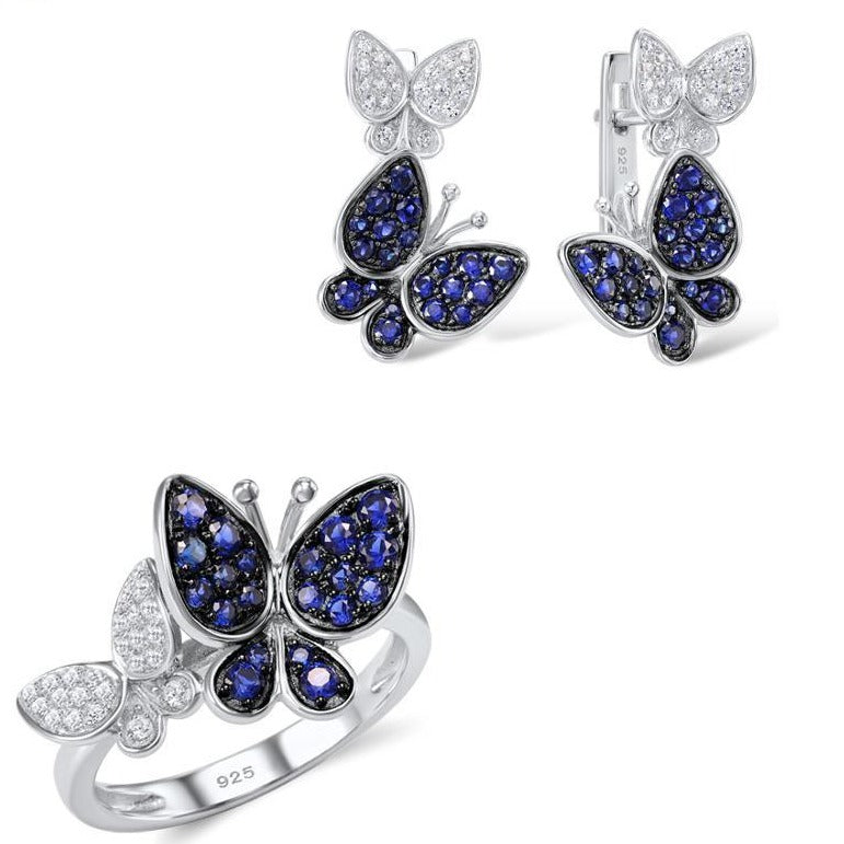 925 Sterling Silver Butterfly Jewelry Set For Women