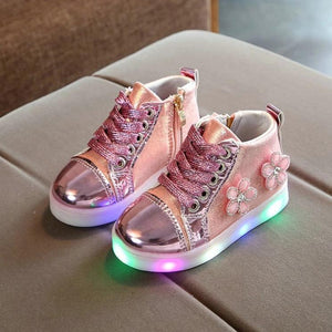 Cute Girls Colorful LED Light Up Shoes with flowers