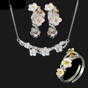 925 Sterling Silver Cherry Blossoms Necklace, Ring & Earrings Set