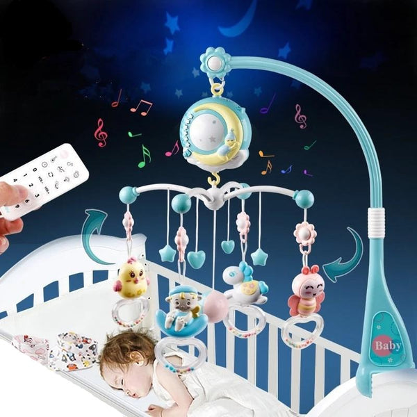 Music and Lights Projection Baby Crib Mobile-BLUE