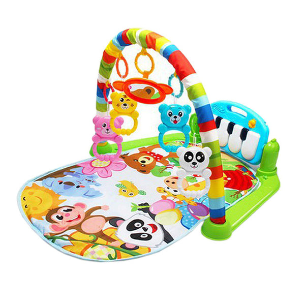 Baby Gym Play Mat for 0-36 Months with Soft Lights, Music & Rattles