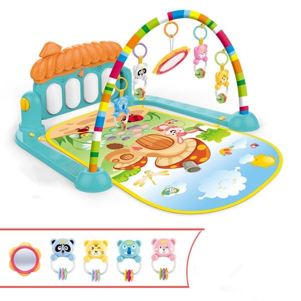 Baby Gym Play Mat with Soft Lights, Music & Rattles