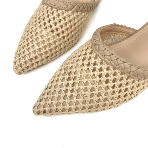Woven Pointed Toe Slides
