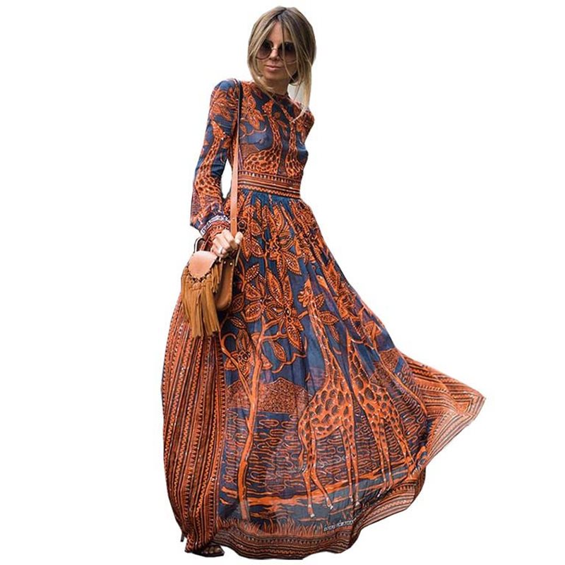 Boho Print Maxi Chiffon Dress