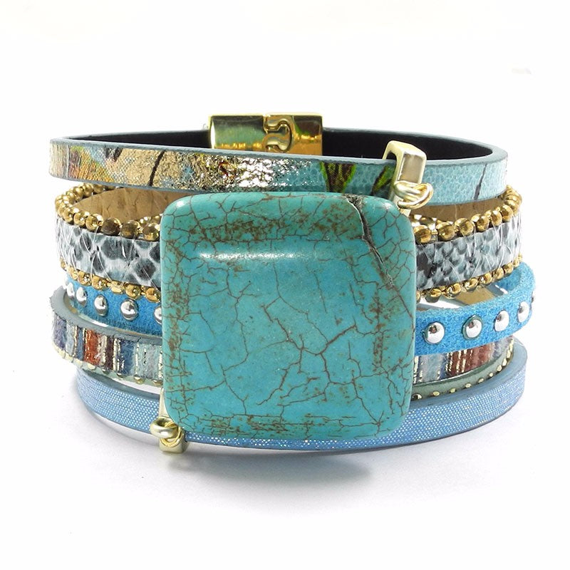 Leather Stone Wraparound Bracelet